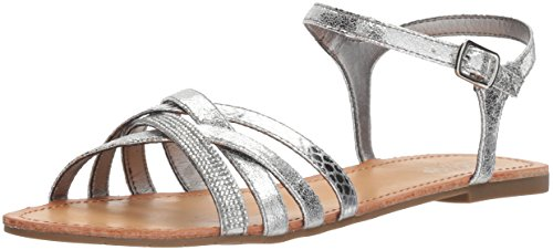 (Kenneth Cole REACTION Women's Just New Criss Cross Ankle Straps Flat Sandal, Silver, 9.5 M US )
