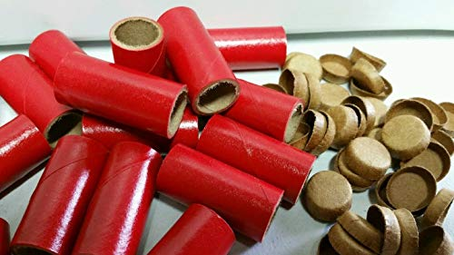 25 M80 Fireworks Gloss Red Pyro Tubes and End Plugs 9/16