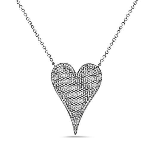Crush & Fancy 14K White Gold Pave Diamond Heart Shaped Necklace | Timeless 14K Heart Slider Pendant w/Pave set Diamonds | Diamond Weight 0.83 ct tw Color G/H Clarity-SI1 | Adj. 15-18