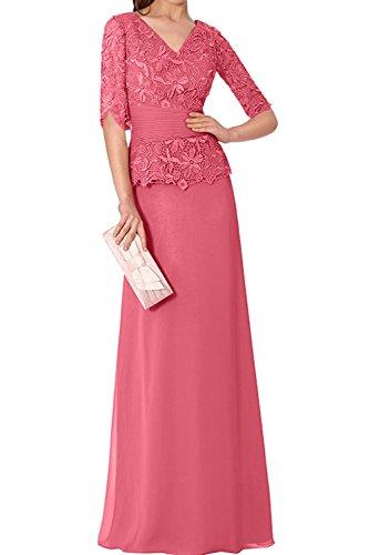 Spitze Lang Brautmutterkleider Abendkleider Rock Partykleider linie Wassermelon Festlichkleider Langarm Damen Charmant A HqgaxEf