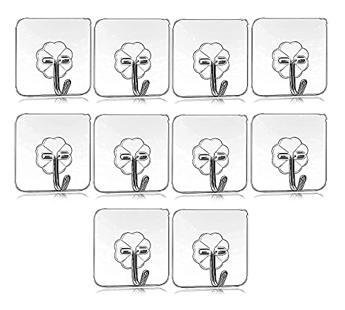 Self Adhesive Wall Hook 10 Pack , Heavy Duty Sticky Hooks for Hanging, Transparent Reusable Waterproof Hooks for Wall, Hook for Wall Hangers, Bedroom, Bathroom, Kitchen Accessories Items