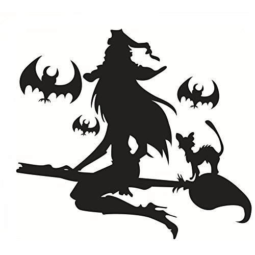 Fangeplus(R)DIY Removable Flying Witch Halloween Pumpkins Spooky Cemetery