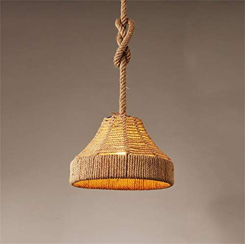 (XAJGW Industrial Natural Hemp Rope Metal Iron Bowl Shade Pendant Ceiling Light 1-Bulb Lighting Fixture, UL Certificated )