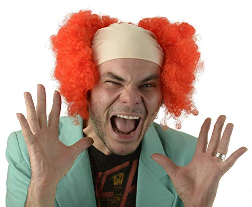City Costume Wigs Curly Red Clown Wig | Scary Red Clown Bald Cap Wig, Pennywise, It, Clown Wig For Kids, Adults -