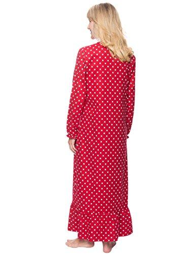 Noble Mount Camisa Larga de Dormir de Franela de Algodón para Mujer Lunares Diva Rojo