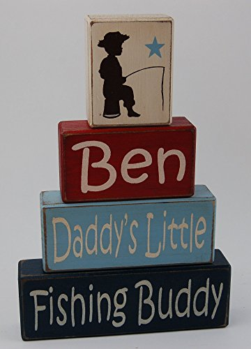 Personalized Name Daddy's Little Fishing Buddy- Primitive Country Wood Stacking Sign Blocks- Boys Room Fishing Theme- Fishing Baby Shower-Fishing Nursery Home Decor ()