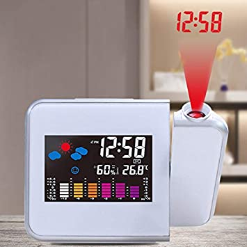 TiooDre Reloj Despertador de proyección, Pantalla LED Grande, Techo, proyector Reloj Despertador Digital con Puerto USB, Brillo Ajustable, para el hogar: ...