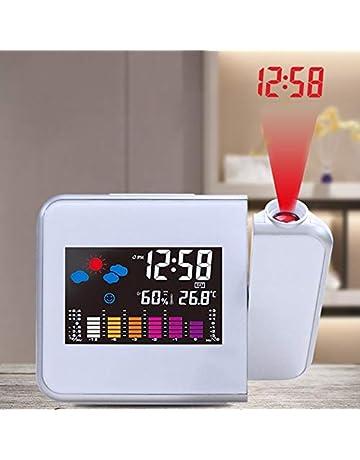 TiooDre Reloj Despertador de proyección, Pantalla LED Grande, Techo, proyector Reloj Despertador Digital