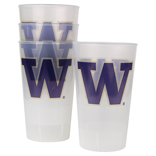 NCAA Frosted Plastic Tailgating Cups, 16oz.(4-Pack) (Washington Huskies (W Logo))