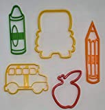 FIRST DAY OF SCHOOL BUS CRAYON PENCIL APPLE SET OF 5 SPECIAL OCCASION COOKIE CUTTER BAKING TOOL MADE IN USA PR1087