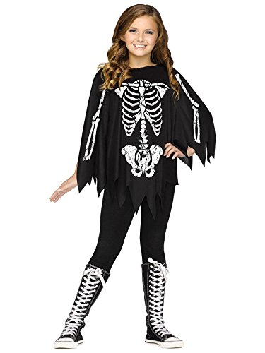 Fun World Little Girl's Poncho Skeleton Ch Costume Up to 14 Childrens Costume, Black, Standard