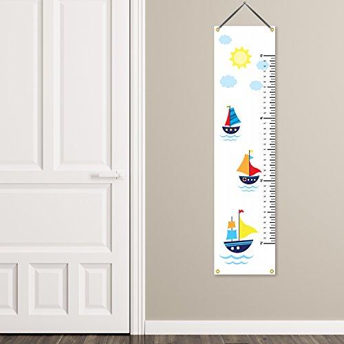 321Done Hanging Growth Chart, Sailboats Nautical Sailing Cartoon Boats, Baby Height Ruler, Premium Vinyl Nursery Wall Decor