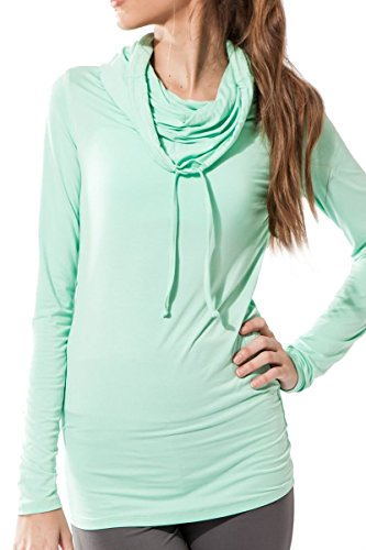 Bamboo Hoody (Sternitz Fitness womens Shirt, Bhakti Hoodie, Perfect for pilates, yoga and any sport, bamboo fabric, ecological and soft. Long neck. (Medium, Aquamarine))