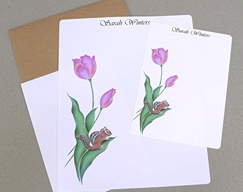 (Chipmunk & Pink Tulips Complete Women's & Girls Monogrammed Writing Paper & Flat Note Card Stationary Set, Personalized Stationery Set, Floral Stationary Set With Envelopes)