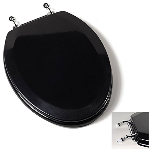 Classy Deluxe Black Elongated Wood Toilet Seat Multi coat high gloss surface finish Adjustable Chrome Hinges Perfect Bowl Fit For All Standard Size Fixtures Great For Your Home - Airport Near Shops Auckland
