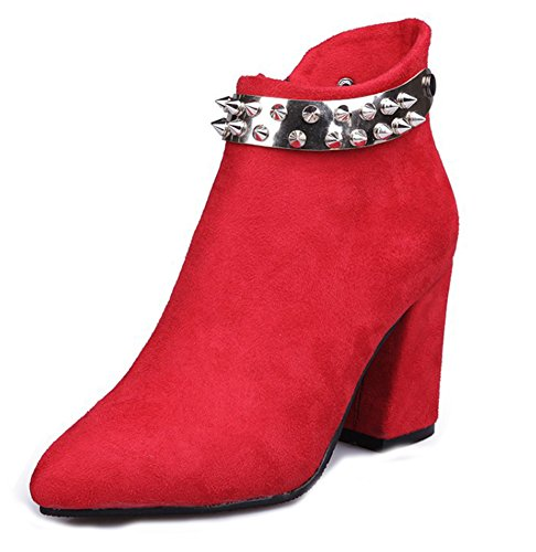 Rivet Femme Aisun Bottines Pointues Rouge Original Mariage FWW6PwqHvx