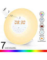 totobay Wake Up Light, Newest Alarm Clock {2nd Generation} Sunrise Simulation Snooze Radio Clock Bedside Night Light Nature Sounds, FM Radio, Touch Control USB Charger (6638)