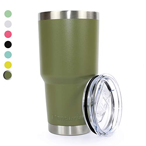 Pandaria 30 oz Stainless Steel Vacuum Insulated Tumbler with Lid - Double Wall Travel Mug Water Coffee Cup for Ice Drink & Hot Beverage, Army Green