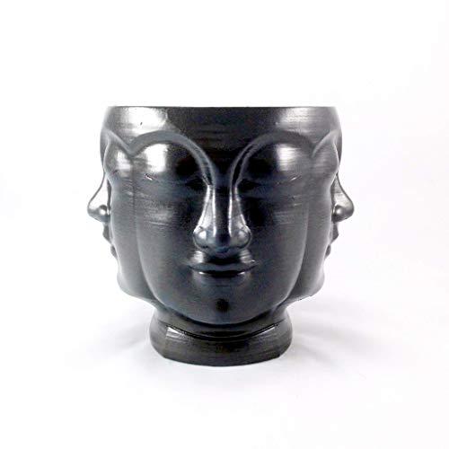 Concrete Multi Face Head Planter Black - All Seeing Buddha