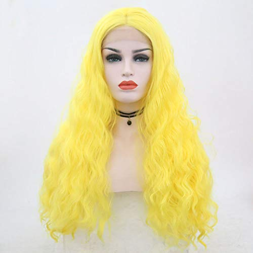 Beauty : Yellow Wig Front Lace Natural Hairline Straight Side Parting Remy Systhetic Wig