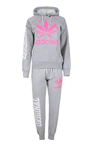 Womens Essentials Ladies Fleece Addicted Leaf Print Hoodies Jog Suit Tracksuit