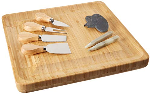 Bamboo Charcuterie Cheese Board with Cutlery Set and Labels. Wood platter with slide-out drawer including 4 stainless knifes, 3 labels and 2 chalks