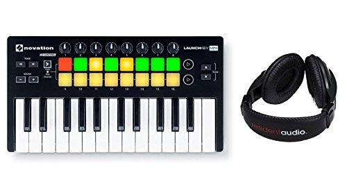Novation Launchkey Mini MK2 USB Keyboard Controller Bundle with Resident Audio R100 Headphones (2 Items)