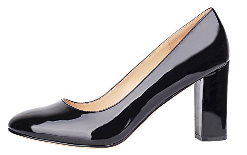 Verocara Women's Thick Heel Almond Toe Simple Silhouette Dress Pumps for Party and Office Black Patent 10 B(M) US