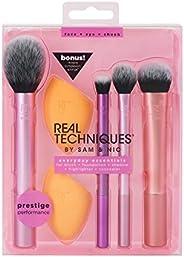 Conjunto de pincéis de maquiagem com 2 esponjas Real Techniques para sombra, base, blush e corretivo, conjunto