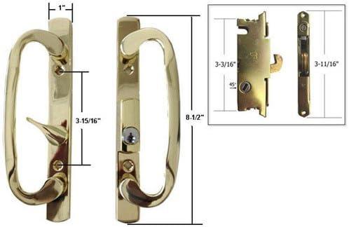 STB Patio puerta corredera de cristal pomo para puerta con cerradura para, latón, con llave, 3 – 15/16