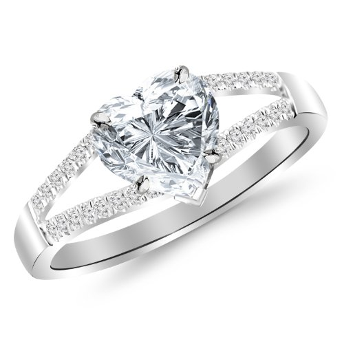 0.65 Carat t.w. Curving Split Shank Diamond Engagement Ring with a 0.5 Ct Forever Classic Heart Moissanite Center ()