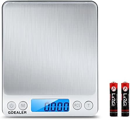 GDEALER DS1 Digital Pocket Kitchen Multifunction Food Scale for Bake Jewelry Weight, 0.001oz/0.01g 500g, Tare, Stainless Steel, 12710619mm, Silver