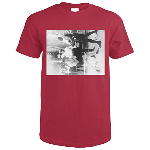 Lantern Press Boxers Marty Cutler and Jack Johnson - Vintage Photograph (Cardinal Red T-Shirt XX-Large) (Photograph Cutler)