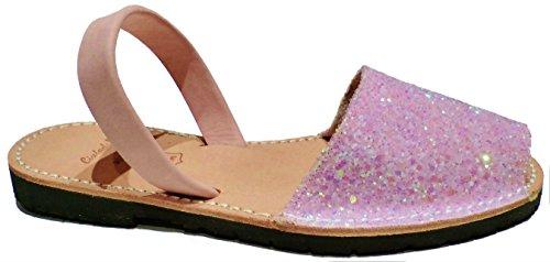 Authentische Menorcan Sandalen für Frauen , avarcas menorquinas, glitter, abarcas sandalias Glitter rosa candy