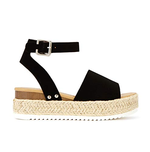 SODA Topic Casual Espadrilles Trim Rubber Sole Flatform Studded Wedge Buckle Ankle Strap Open Toe Sandal (6.5, Black Rich Nubuck)