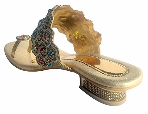 Step n Style Gold Sexy Womens INDIAN SHOE Diamond Heel Sandal Party JUTTIS MOJARI Multicolor caOwirl