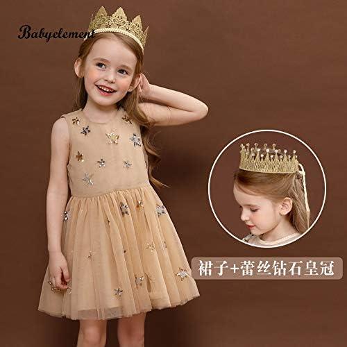don997gfoh08yewi Mädchen Kleid 2019 New Ultra Yang Kinder Kleidung Sommerkleid 6 kleine Mädchen 5 Rock 3 Flauschiges Garn 4 Jahre alt Champagner + Gold mit Diamantkrone