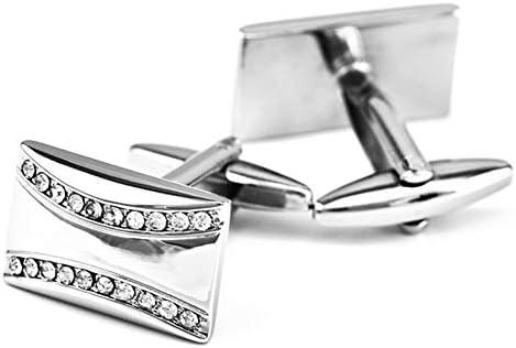 二重列ホワイトクリスタルカフリンクスモザイクダイヤモンドフレンチシャツカフスボタン