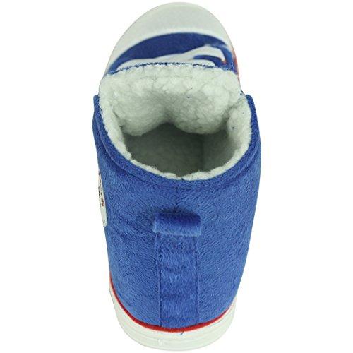 Scarpette Da Casa Per Donna Inverno Caldo Peluche Casa Interna Scarpette Da Esterno Pantofole Stivali Blu 2