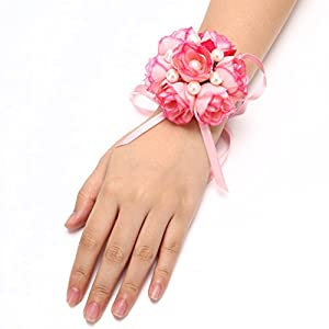 FAYBOX Girl Bridesmaid Wedding Wrist Corsage Party Prom Hand Flower Decor 11