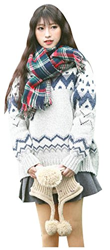 wanture Women's Vintage Fair Isle Sweater Long Pattern Thick Jacquard Nordic Style Vogue colorful Christmas Pullover Grey - Sweater Isle