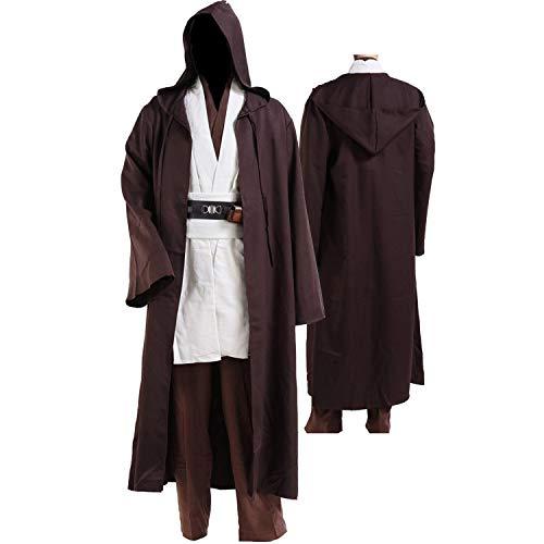 Tunic Costume Jedi Cosplay Costume Mens Halloween Cosplay Costume Tunic Robe Full Set White ()