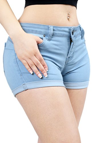Women Fashion Butt Lifting Push Up Stretch Short Pants with Pockets Medium LT.DENIM-90026 ()