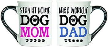 Tumbleweed - Stay At Home Dog Mom & Hard Workin' Dog Dad - Dog Mug Set - Two Large 18 Ounce Ceramic Coffee Mugs