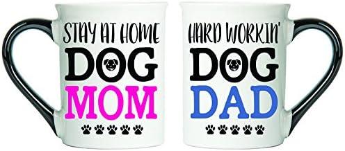 Tumbleweed Dog Lover Mugs - Stay At Home Dog Mom & Hard Workin' Dog Dad Mugs - Set Of Two Large 18 Ounce Coffee Cups - Dog Coffee Mugs