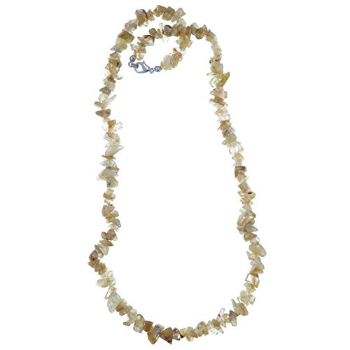 (SatinCrystals Quartz Rutilated Necklace Boutique Golden Rutile Thread Natural Stone Nugget Beaded Yellow B02 (19