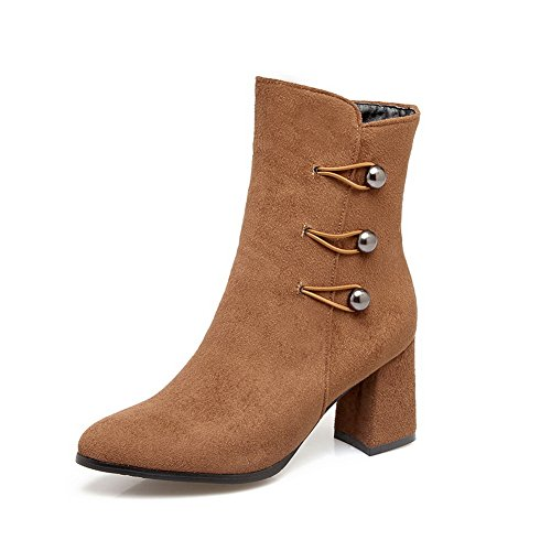Womens nbsp; AdeeSu Heels Chunky Pointed SXC02674 Velvet Toe nbsp;Lining Brown Boots Microsuede A0HBw
