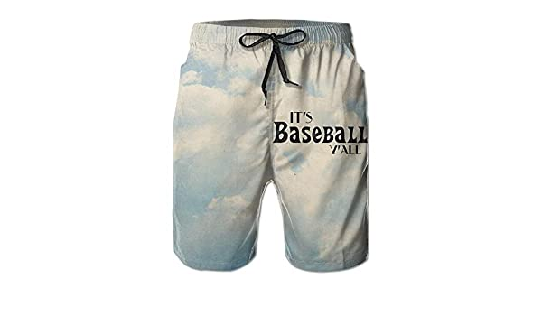 Mens Its Baseball Yall Swim Trunks Beach Board Shorts