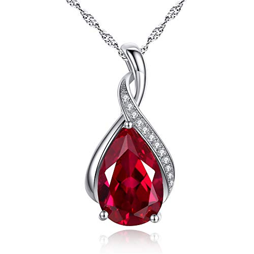 (MABELLA Sterling Silver Simulated Ruby Birthstone Pendant Necklace Jewelry,Mother's Day Gifts for Women)
