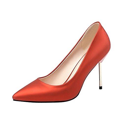 los la PU Rojo OCHENTA Elegante de Trabajo 9CM Talones Boda Mujer de qf1UE